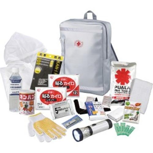 リュックバッグ避難13点セット (避難用リュックバッグ、LEDランタンライト、ホイッスル、携帯トイレ2P他)